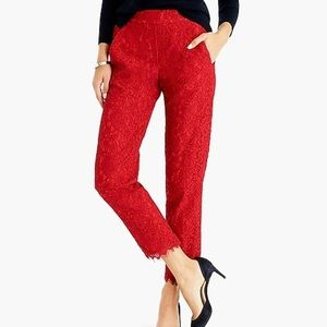 J. Crew Easy Pant in Festive Red Lace